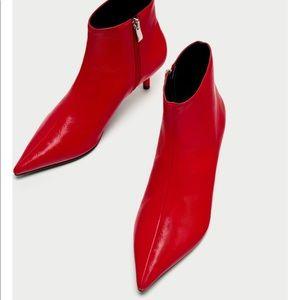 Zara Red Pointy Boots